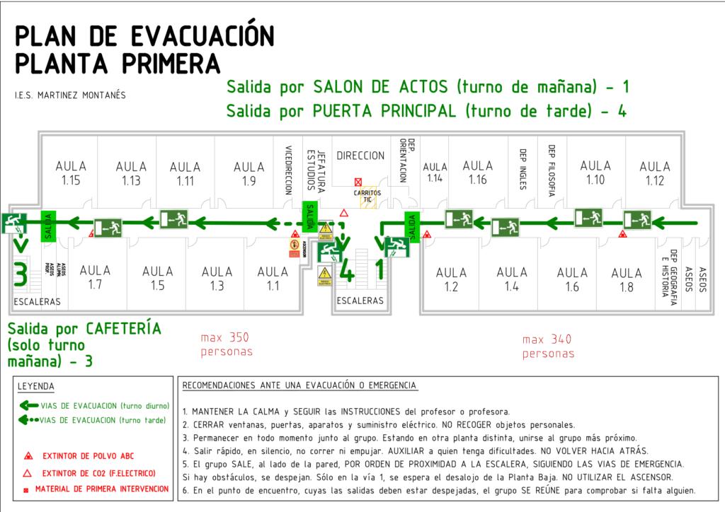 Plano evacuación primera planta