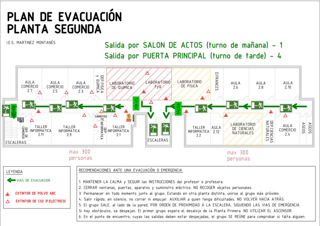 Plano evacuación segunda planta