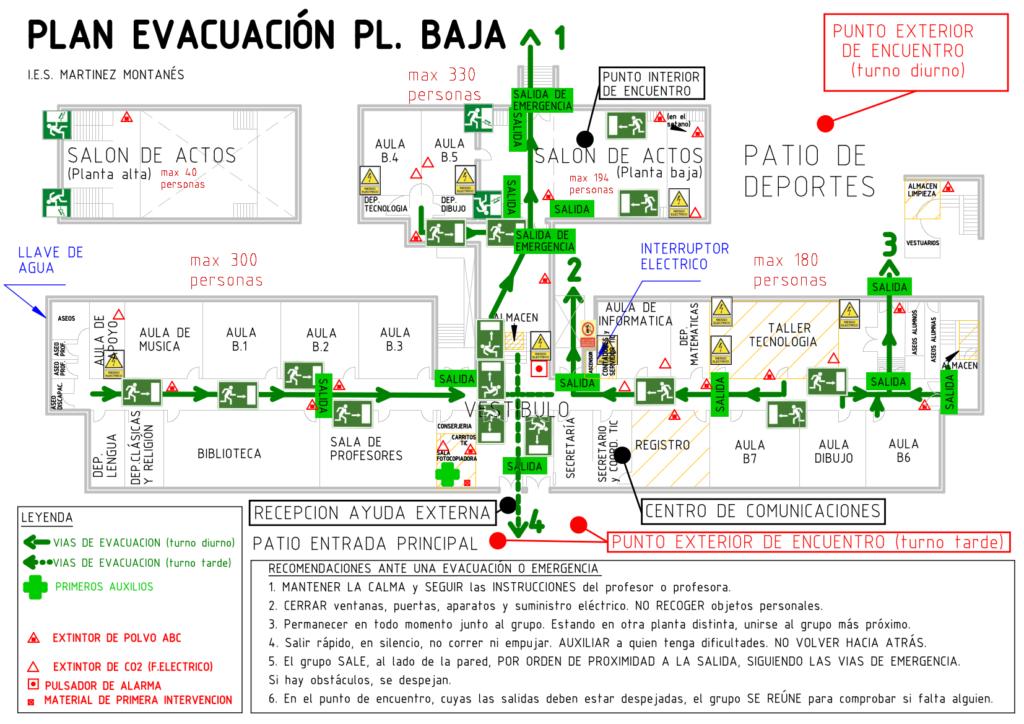 Plano evacuación planta baja